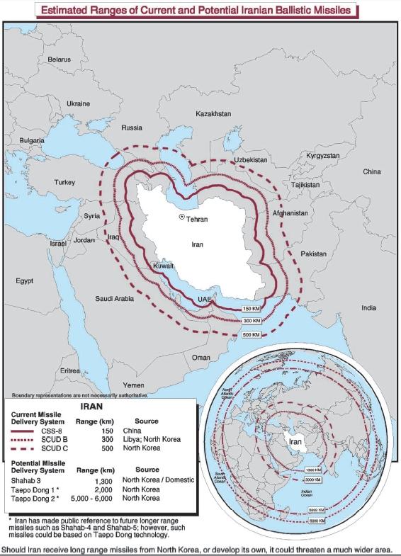 Iran missiles ranges